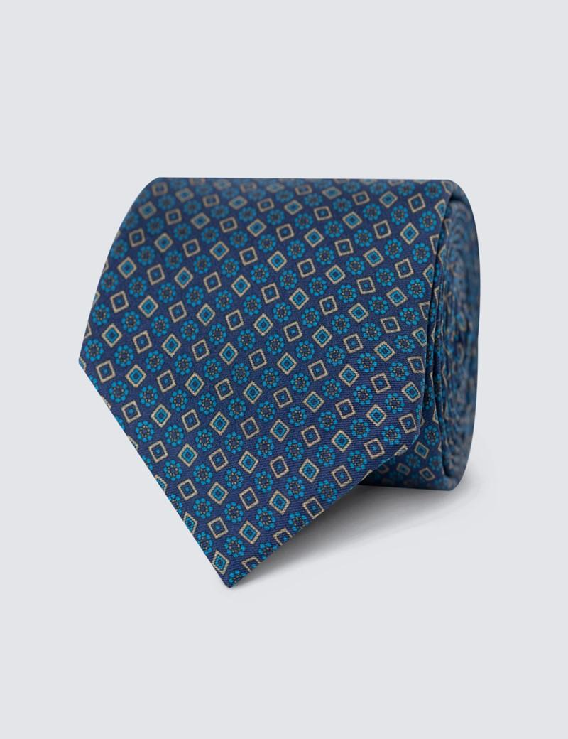 Men's Blue Geometric Printed Tie - 100% Silk