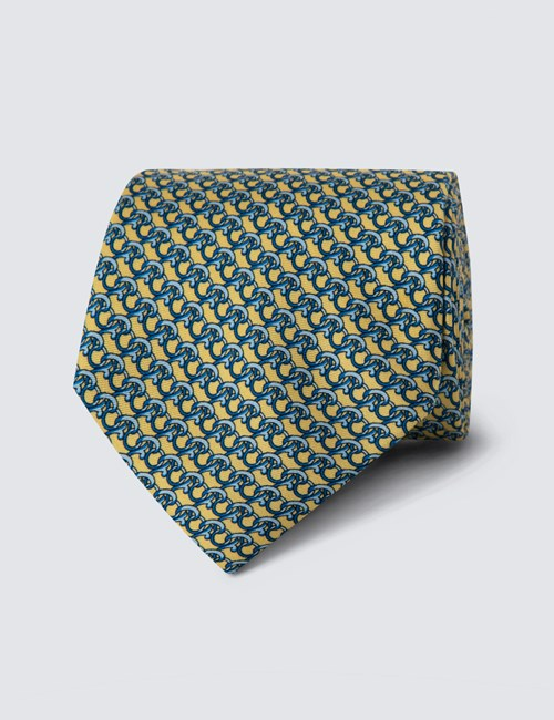 Men's Yellow Printed Hooks Tie - 100% Silk