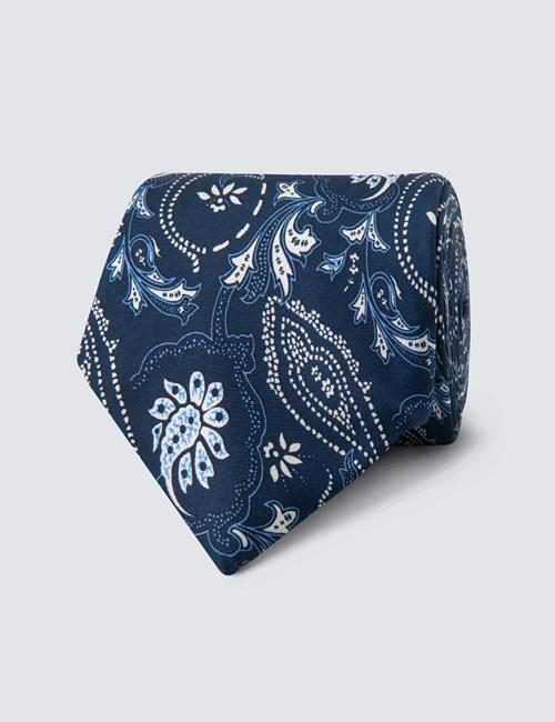 Krawatte – Seide – Standardbreite – Floraler Print marine & weiß