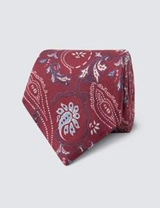 Men's Wine & White Printed Floral Tie - 100% Silk