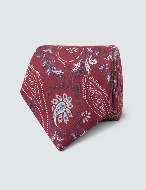 Men's Wine & White Printed Floral Tie - 100% Silk