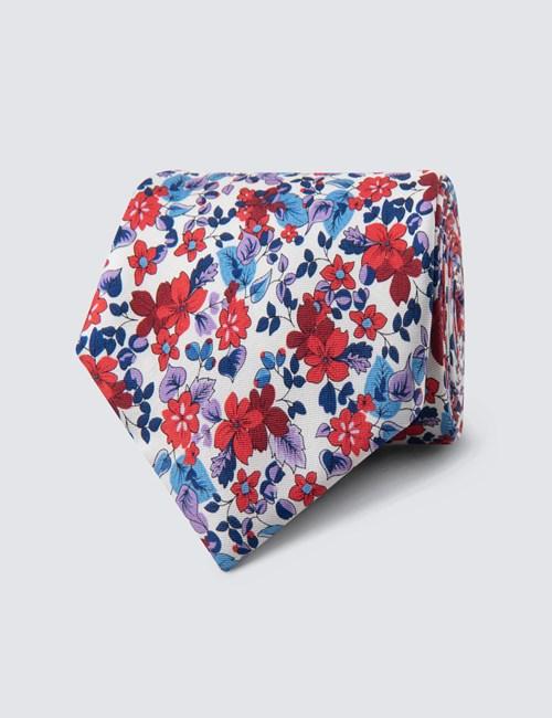 Men's Red & Blue Floral Print Tie - 100% Silk