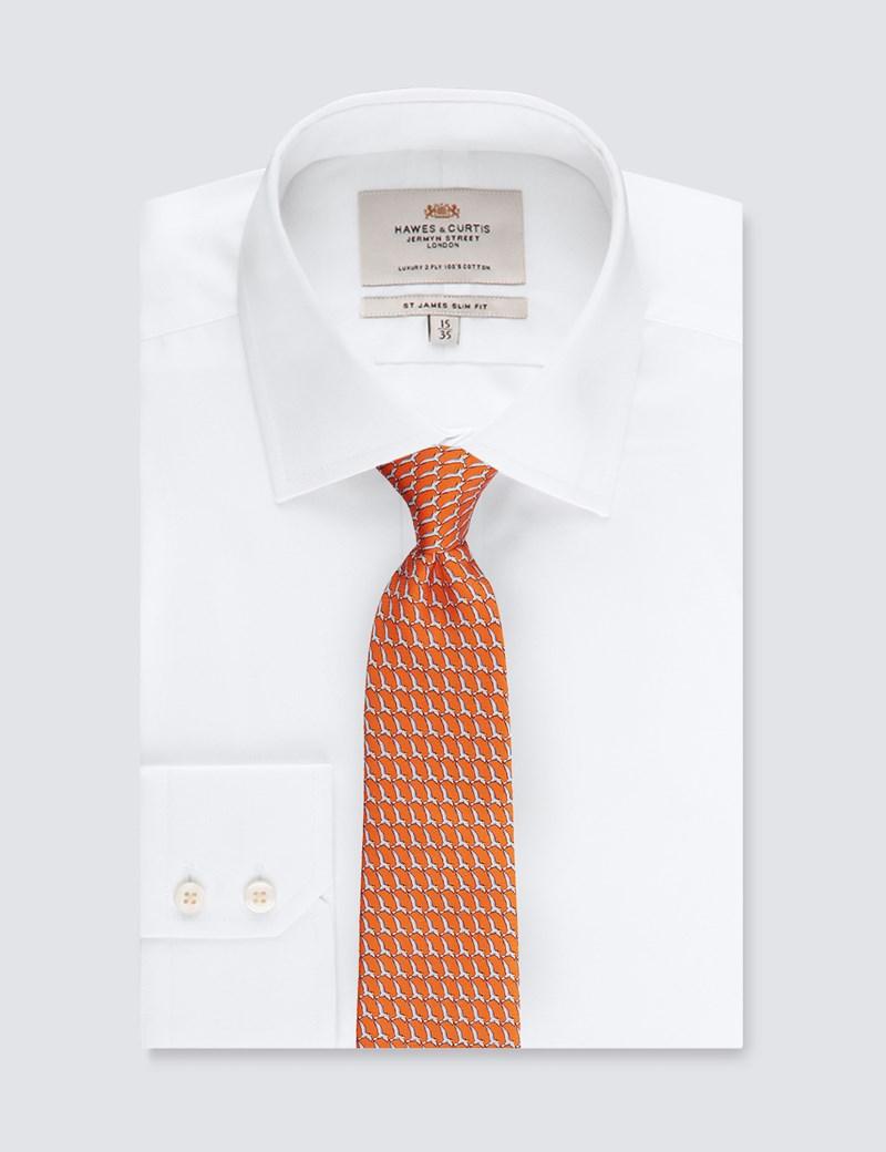 Men's Orange Bird Print Tie - 100% Silk