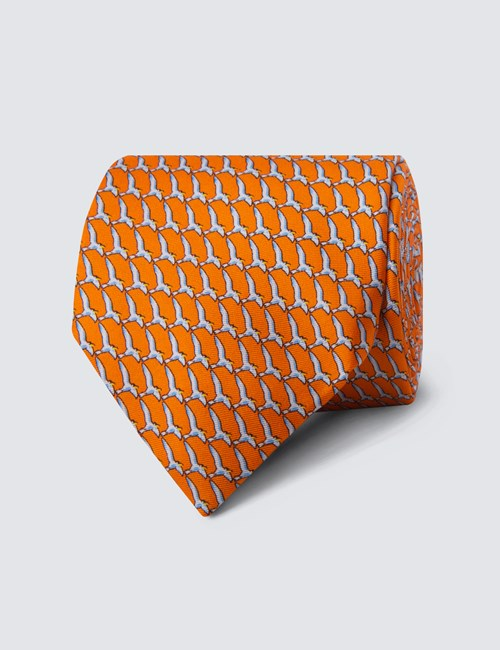 Men's Orange Bird Print Tie - 100% Silk