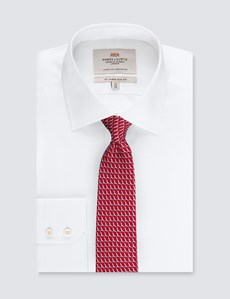 Men's Red Bird Print Tie - 100% Silk