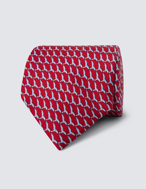 Men's Red Bird Print Tie - 100% Silk