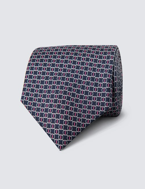 Men's Navy Printed Link Clips Tie - 100% Silk