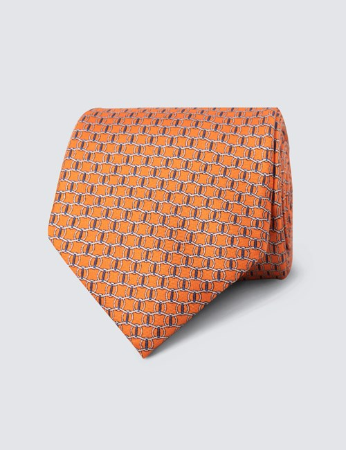 Men's Orange Printed Link Clips Tie - 100% Silk