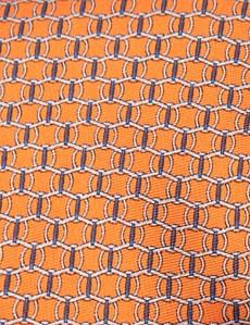 Men's Orange Printed Link Clips Tie - 100% Silk