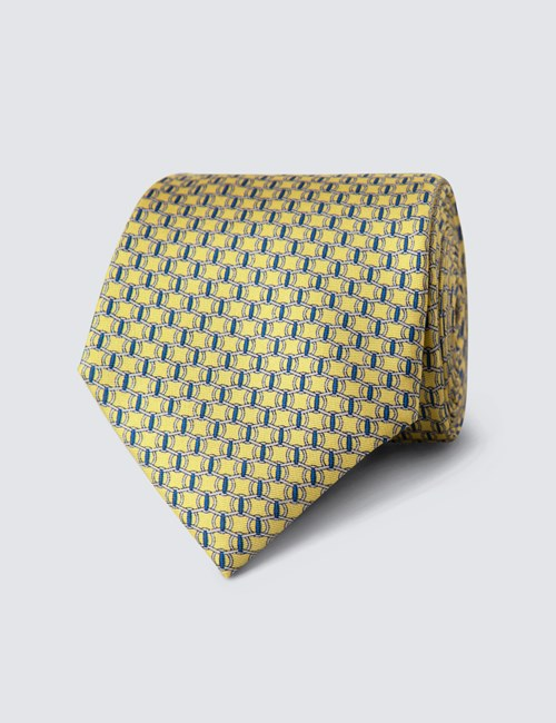 Men's Yellow Printed Link Clips Tie - 100% Silk