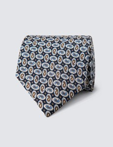 Men's Blue & Brown Teardrops Print Tie - 100% Silk