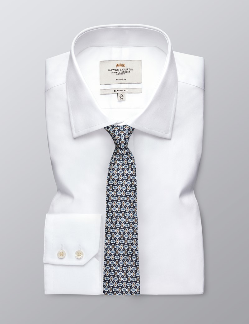 Men's Blue & Brown Teardrops Print Tie - 100% Silk