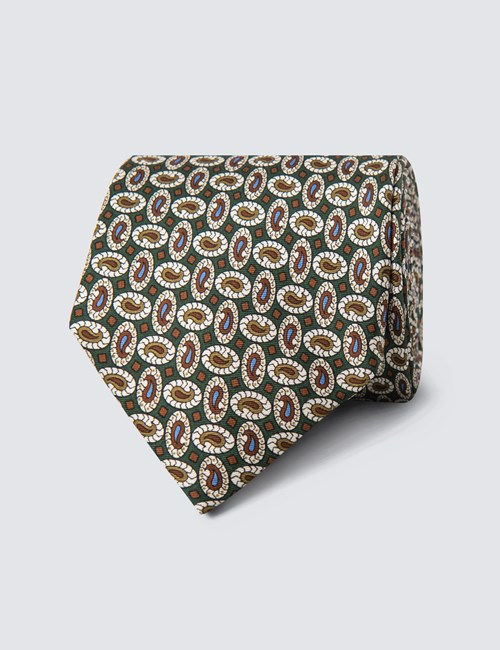Men's Green & Brown Teardrops Print Tie - 100% Silk