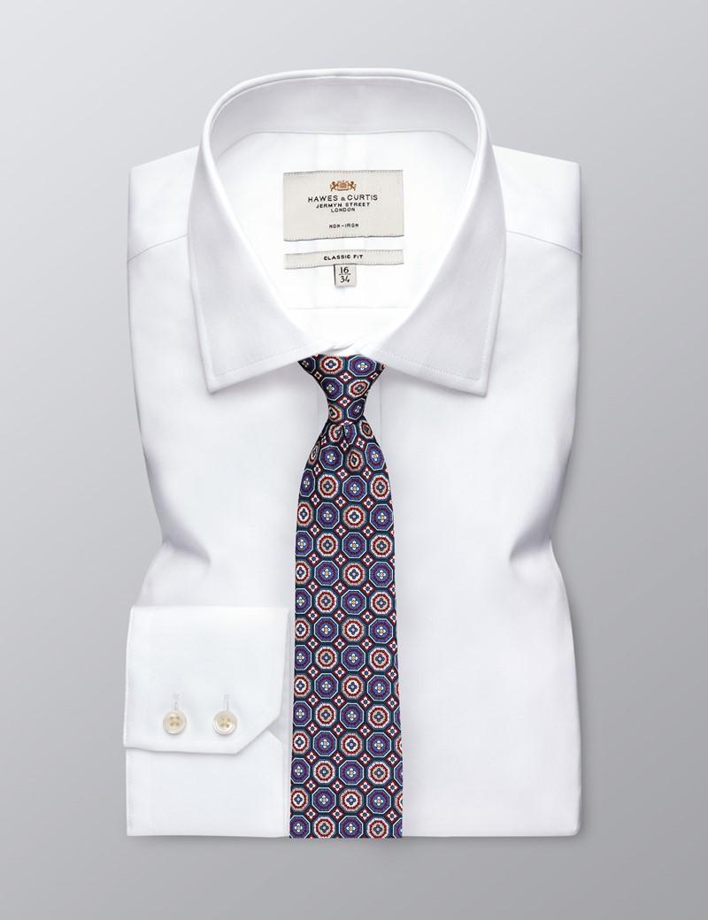 Krawatte – Seide – Standardbreite – Fliesen blau & rot