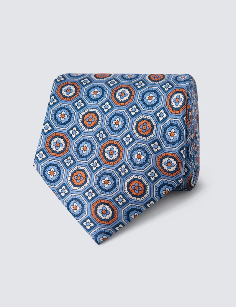 Men's Blue & Orange Geometric Print Tie - 100% Silk