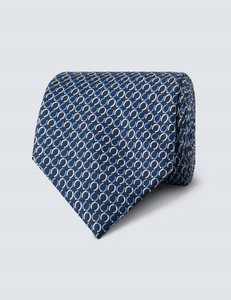 Men's Navy Horseshoe Print Tie - 100% Silk