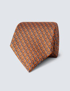 Men's Orange Horseshoe Print Tie - 100% Silk