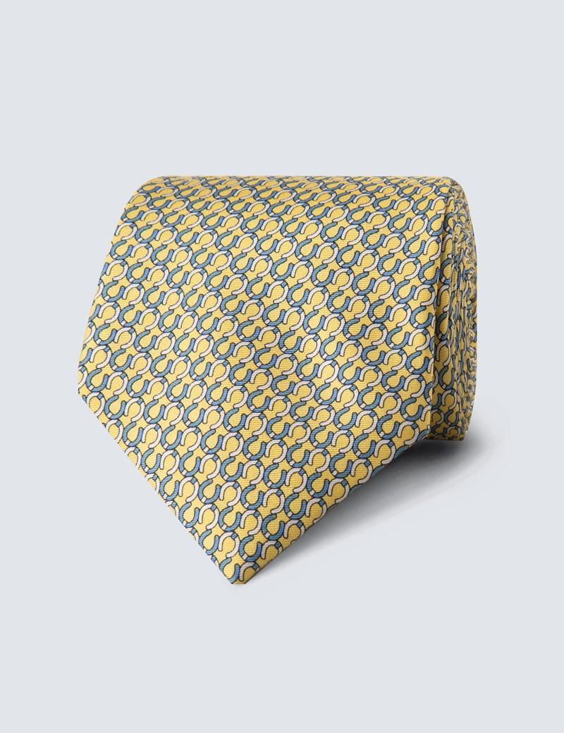 Men's Yellow Horseshoe Print Tie - 100% Silk