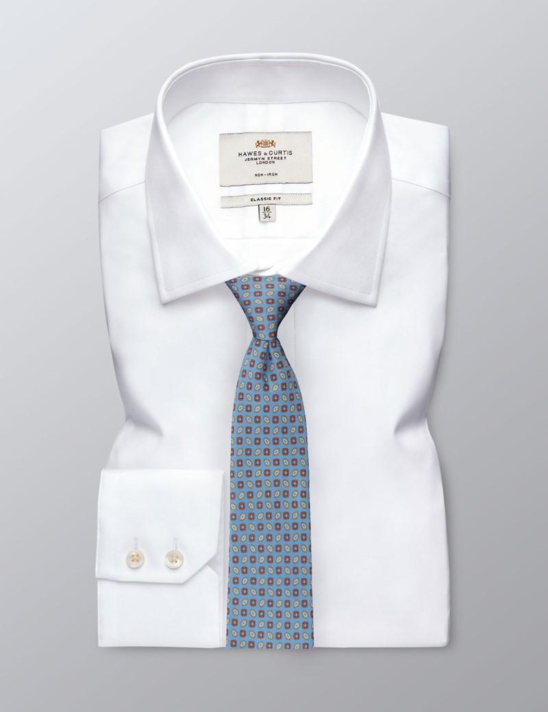 Men's Blue Geometric Tie - 100% Silk