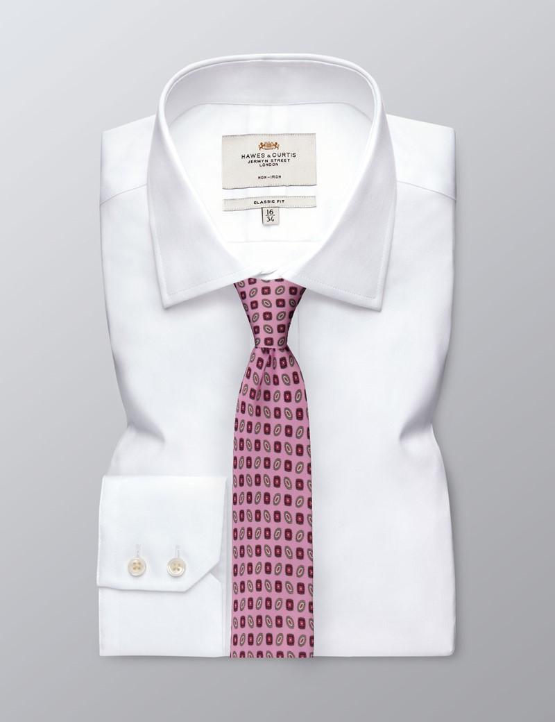 Men's Pink Geometric Tie - 100% Silk