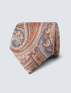 Men's Brown Contrast Paisley Tie - 100% Silk