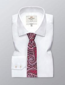 Men's Light Pink Contrast Paisley Tie - 100% Silk