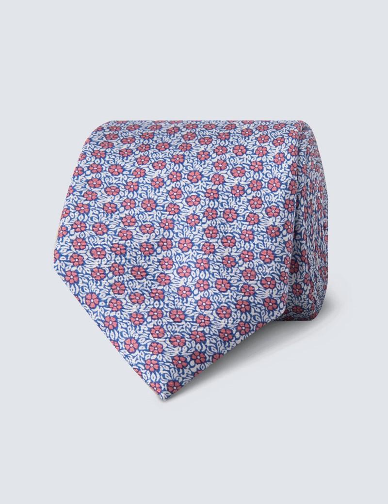 Men's Blue & Pink Floral Tie - 100% Silk