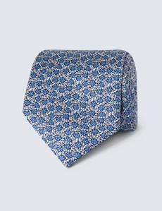 Men's Blue & White Floral Tie - 100% Silk