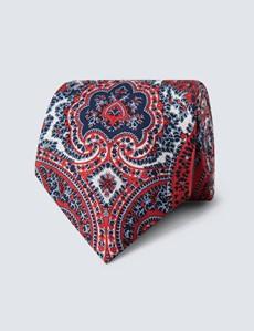 Men's Red & Navy Bold Paisley Print Tie - 100% Silk