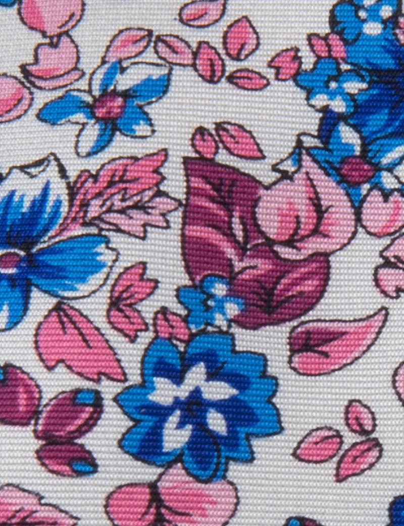 Men's Pink & Blue Floral Tie - 100% Silk