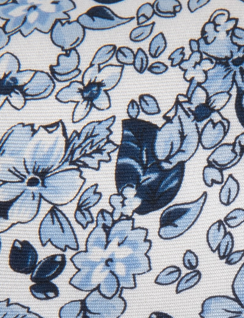 Men's White & Blue Floral Tie - 100% Silk