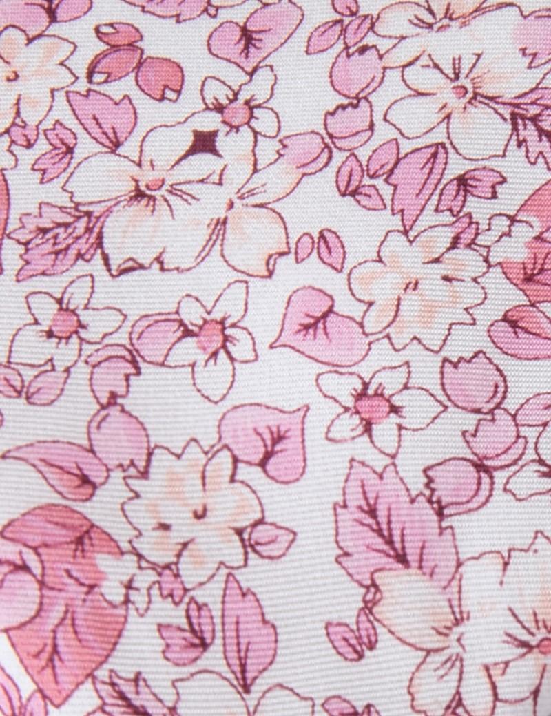 Men's White & Pink Floral Tie - 100% Silk