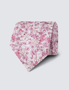 Men's White & Pink Floral Tie - 100% Silk