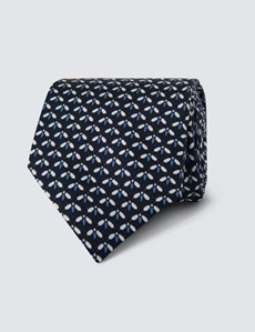 Men's Navy & Blue Printed Fly Tie - 100% Silk