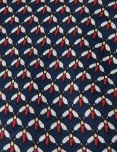 Krawatte – Seide – Standardbreite – navy-rot mit Fliegen
