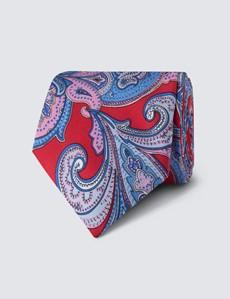 Men's Red & Blue Bold Paisley Tie - 100% Silk