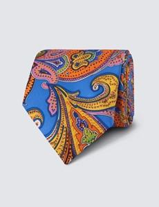 Men's Blue & Orange Bright Paisley Tie - 100% Silk
