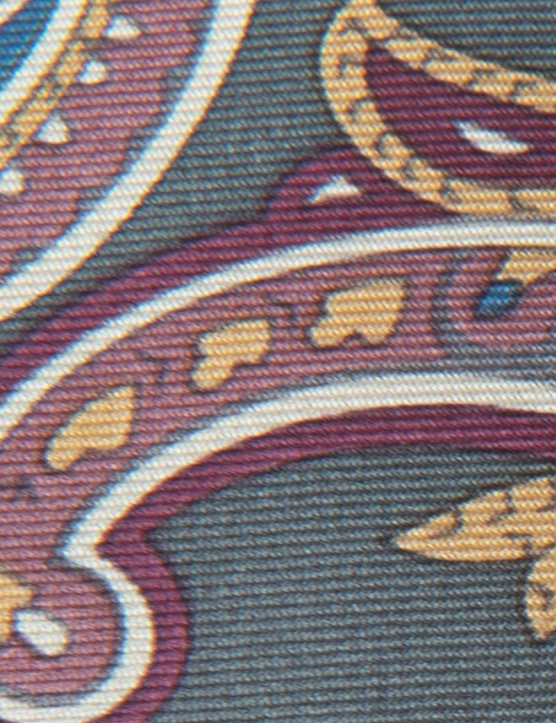 Men's Green & Purple Paisley Tie - 100% Silk