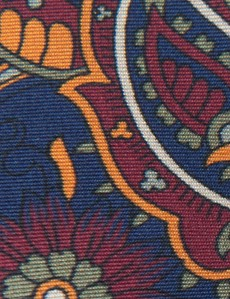 Men's Navy & Orange Paisley Tie - 100% Silk