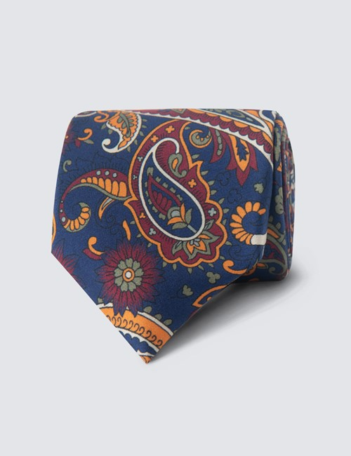 Men's Navy & Orange Paisley Tie - 100% Silk