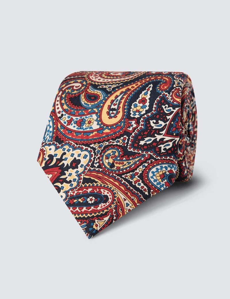Krawatte – Seide – Standardbreite – Paisley navy rot