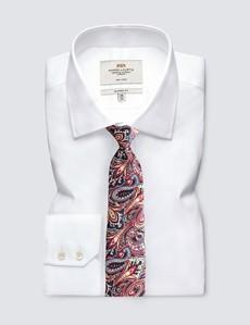 Men's Navy & Red Bold Paisley Tie - 100% Silk