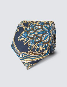 Men's Navy & Brown Paisley Tie - 100% Silk