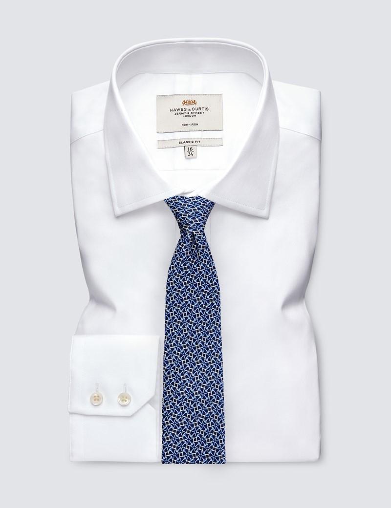 Krawatte – Seide – Standardbreite – Blau Geometrisches Muster
