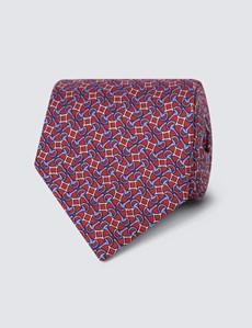 Men's Red Geometric Links Tie - 100% Silk
