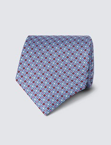 Men's Light Blue Small Squares Tie - 100% Silk