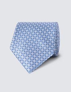 Krawatte – Seide – Standardbreite – Blau Blümchen