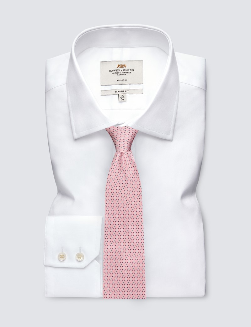 Men's Light Pink Daisy Print Tie - 100% Silk