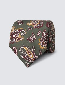 Krawatte – Seide – Standardbreite – Paisley grün & weinrot