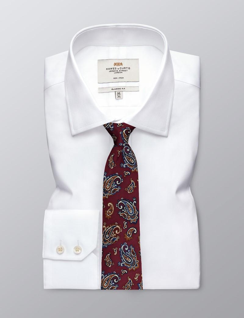 Men's Wine & Orange Paisley Print Tie - 100% Silk